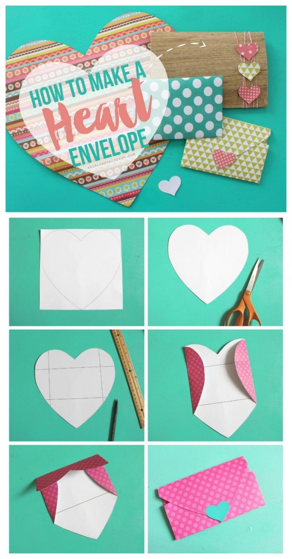 tutoriel pour apprendre comment faire une enveloppe de papier coupé en forme de coeur, surprise pour la Saint Valentin