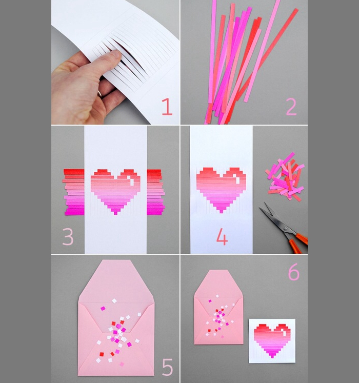 comment faire une carte pour la Saint Valentin et une enveloppe de papier rose avec décoration en morceaux de papier rose et rouge