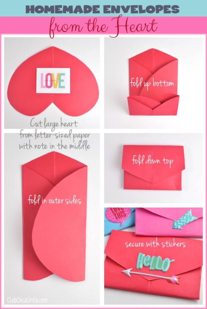 enveloppe kraft, comment réaliser une enveloppe pour la Saint Valentin avec papier rouge coupé en forme de coeur