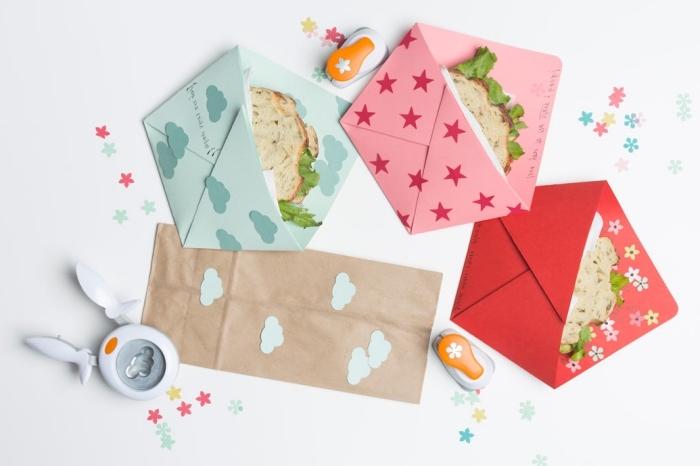 modèles d'enveloppe en papier recyclé et papier coloré pour sandwich, idée décoration d'enveloppe