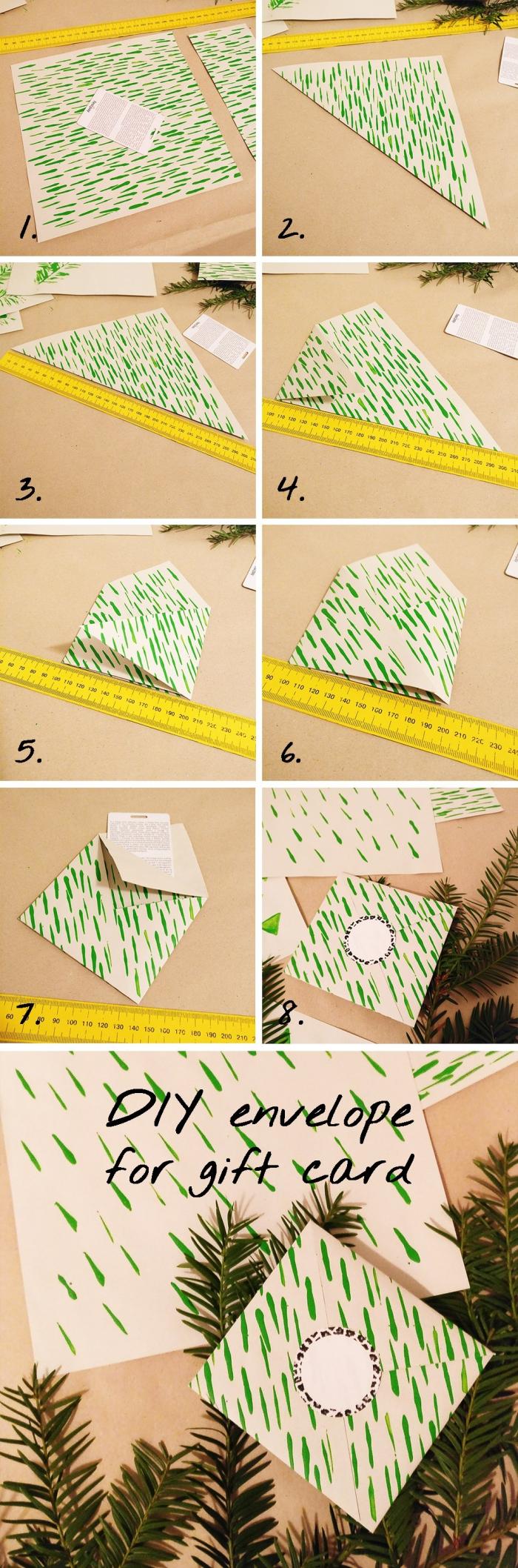 les étapes à suivre pour faire une enveloppe en forme carrée de papier beige à décoration verte, enveloppe de Noel