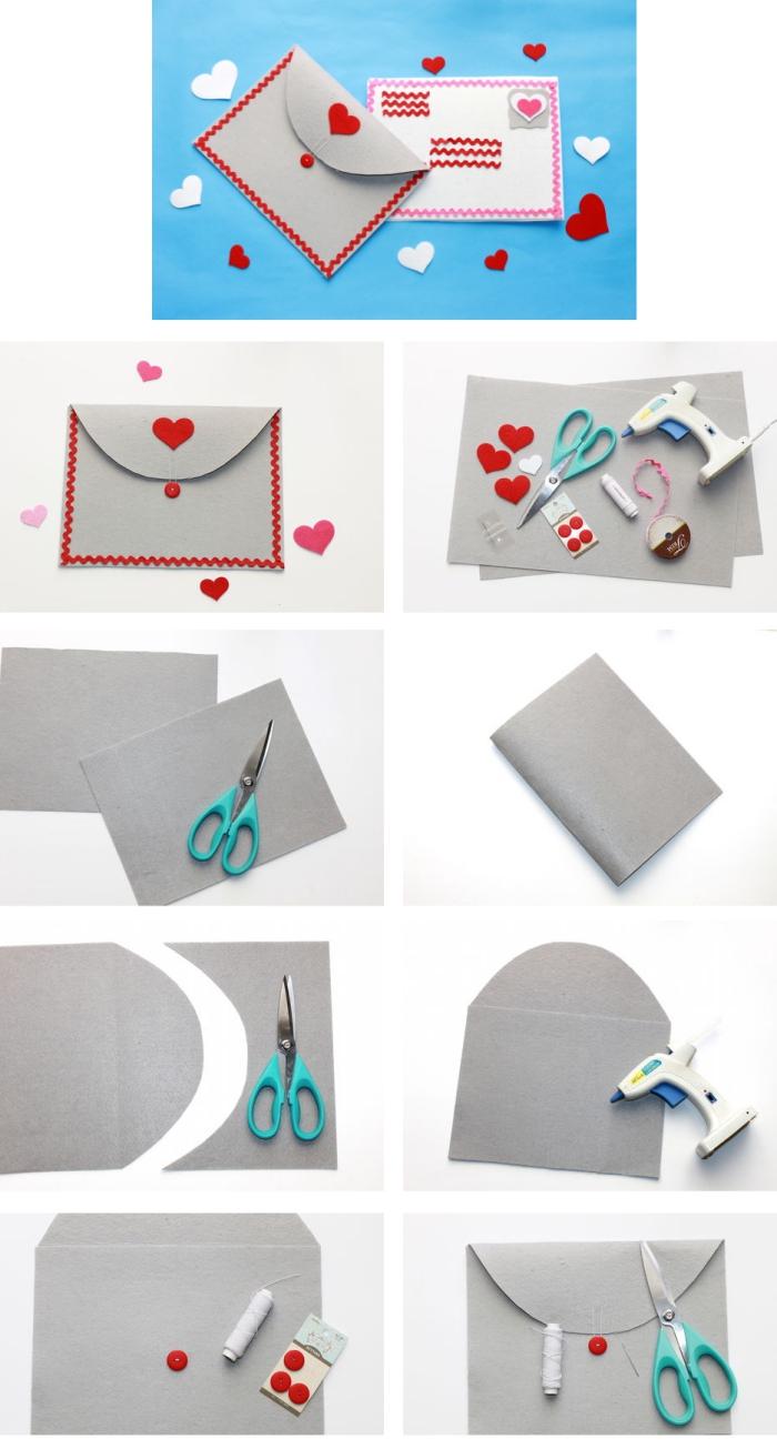 fabriquer une enveloppe, tutoriel avec les étapes à suivre pour faire une enveloppe grise avec déco rouge