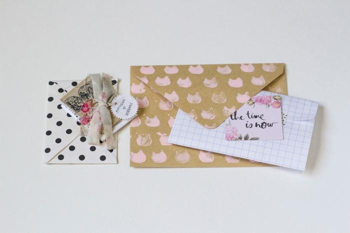 enveloppe kraft, idée comment faire des enveloppes en papier avec décoration à design chat