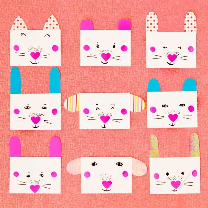 activité manuelle pour les enfants, fabriquer une enveloppe blanche avec dessins et décoration à design animal