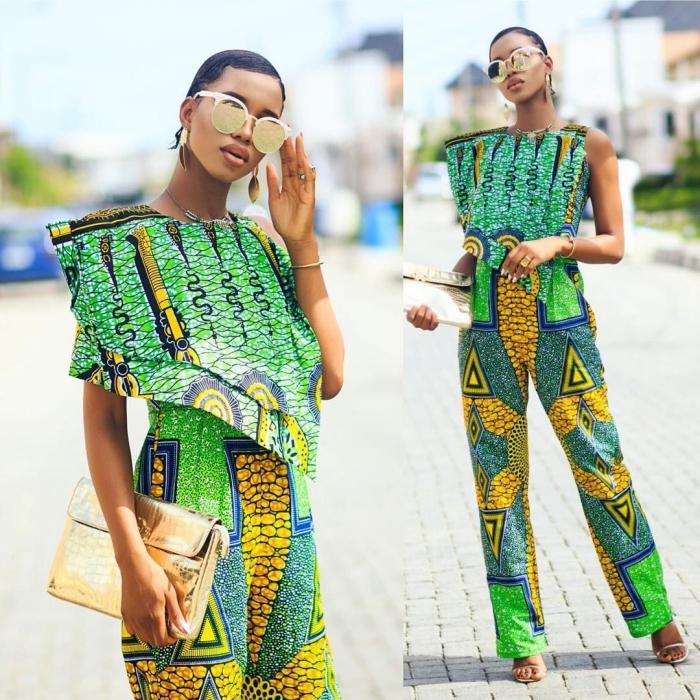 mode femme stylée en ensemble moderne style africain, vêtement pagne africain de couleur verte avec ornements en jaune et bleu