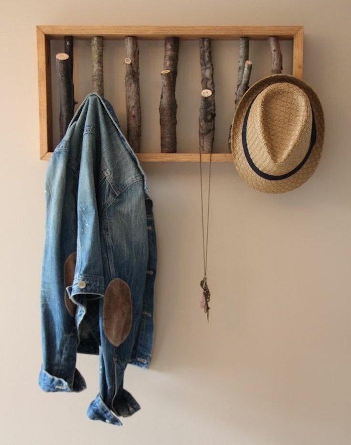 fabriquer patere bricolage porte manteau avec bouts de bois