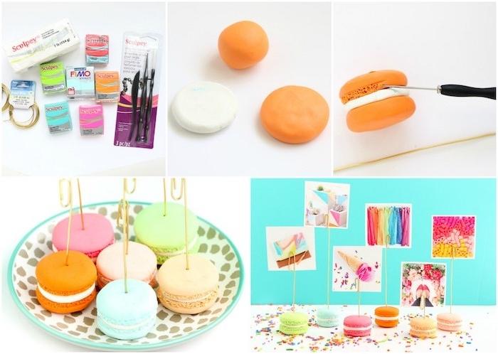 pate fimo tuto pour fabriquer un porte photos original en macarons colorés avec accroche en dessus pour insérer des photos
