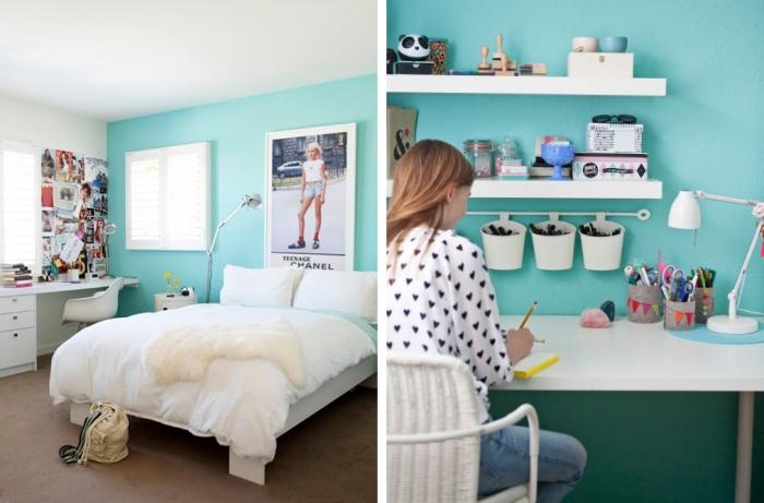 idée comment peindre les murs dans la chambre ado fille, murs turquoise avec meubles en bois peint en blanc