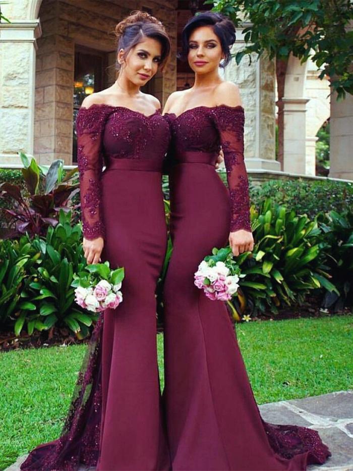 Robe demoiselle d honneur bordeau robe longue avec manches et epaules denudees robe invité mariage