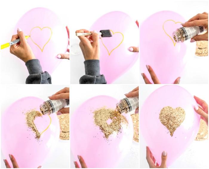 cadeau pour sa copine, des ballons rose avec motif coeur en paillettes dorées, bricolage facile et rapide