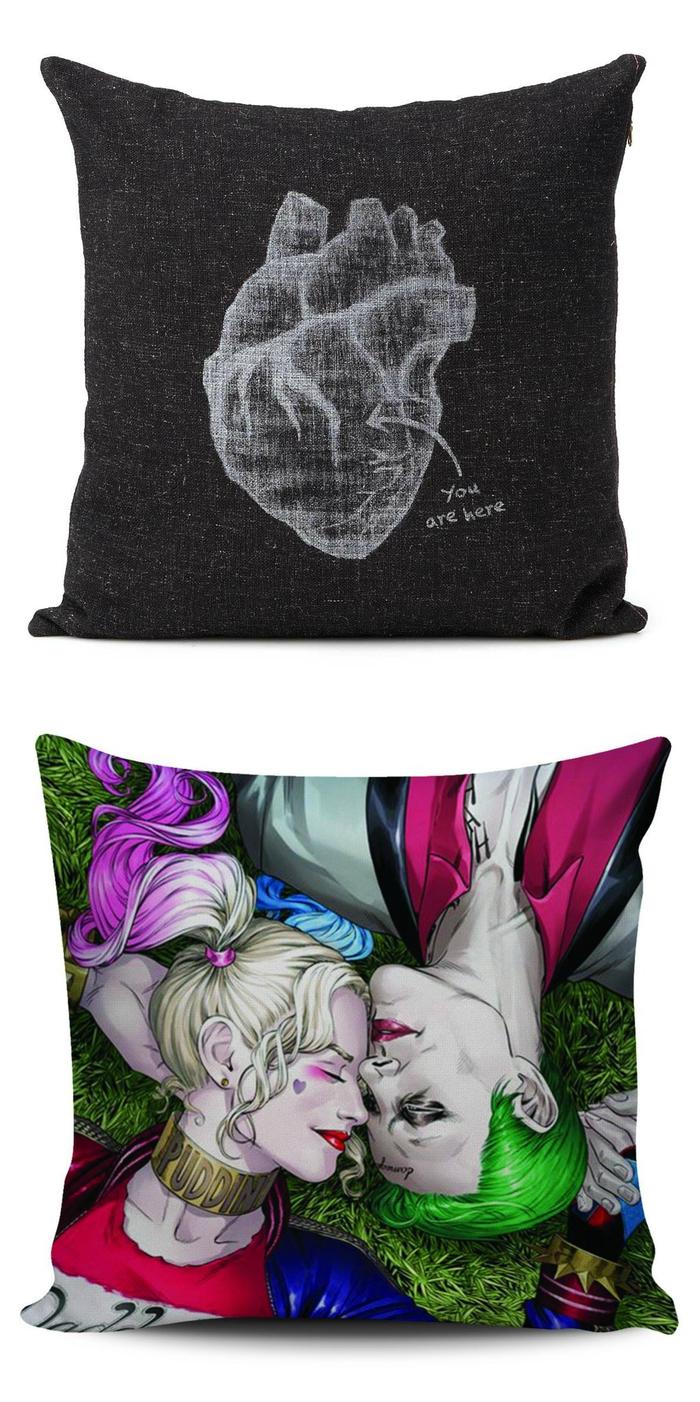 des cadeaux saint valentin originaux pour les hommes passionnés de la déco, coussins décoratifs imprimés à design original
