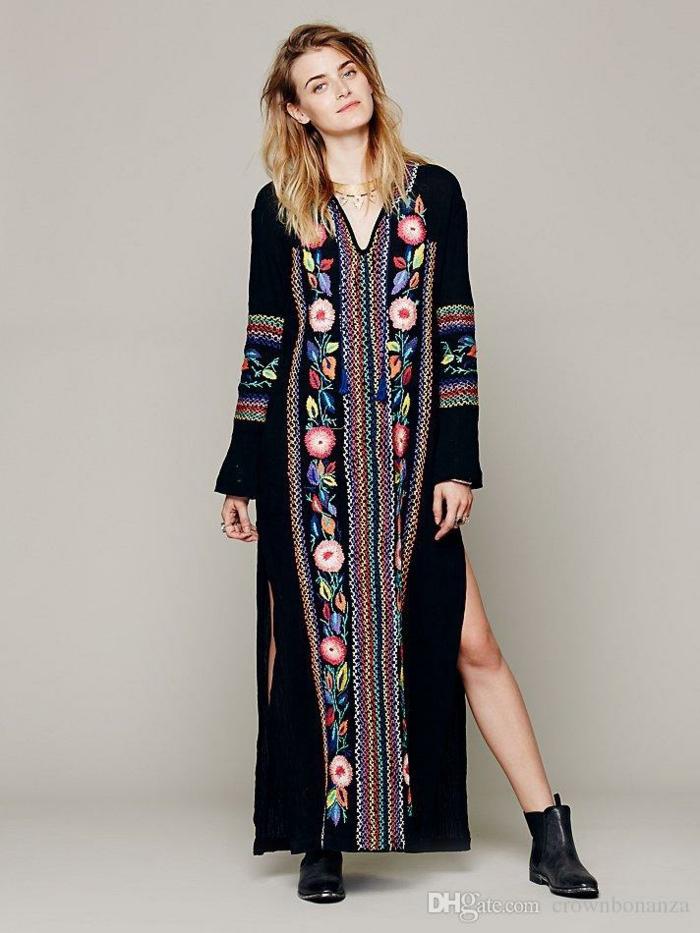Femme robe longue manches lounges robe féminine bohème bottines
