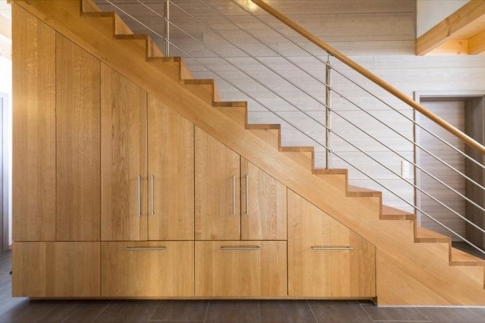 meuble chaussure sous escalier avec portes et tiroirs pour stocker les chaussures et les vestes