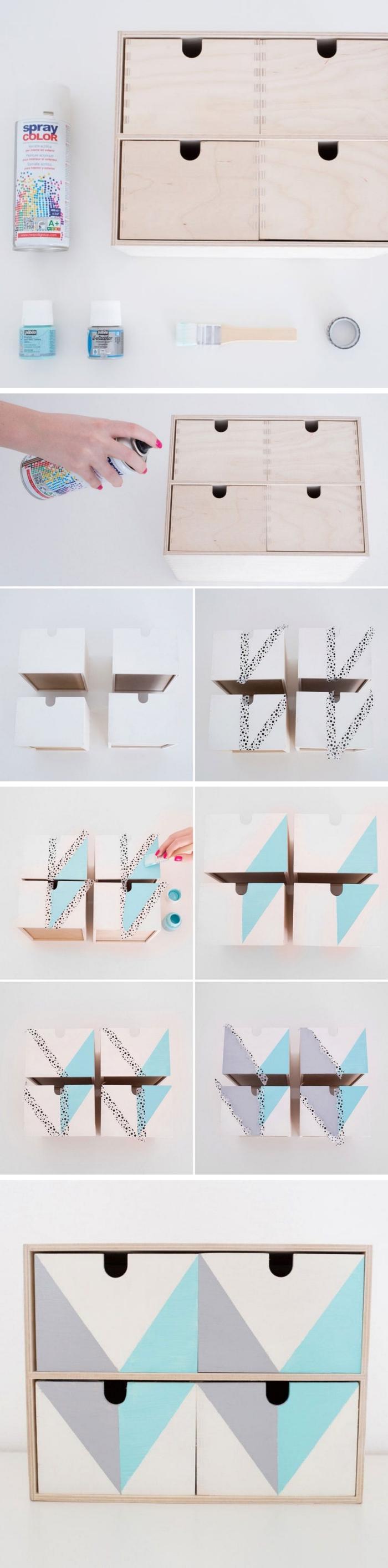 tutoriel avec photo pour colorer les meubles en bois avec peinture bois de nuance gris et turquoise