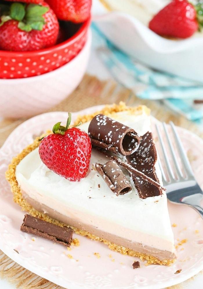 recette sans cuisson de gateau saint valentin façon cheesecake à trois couches