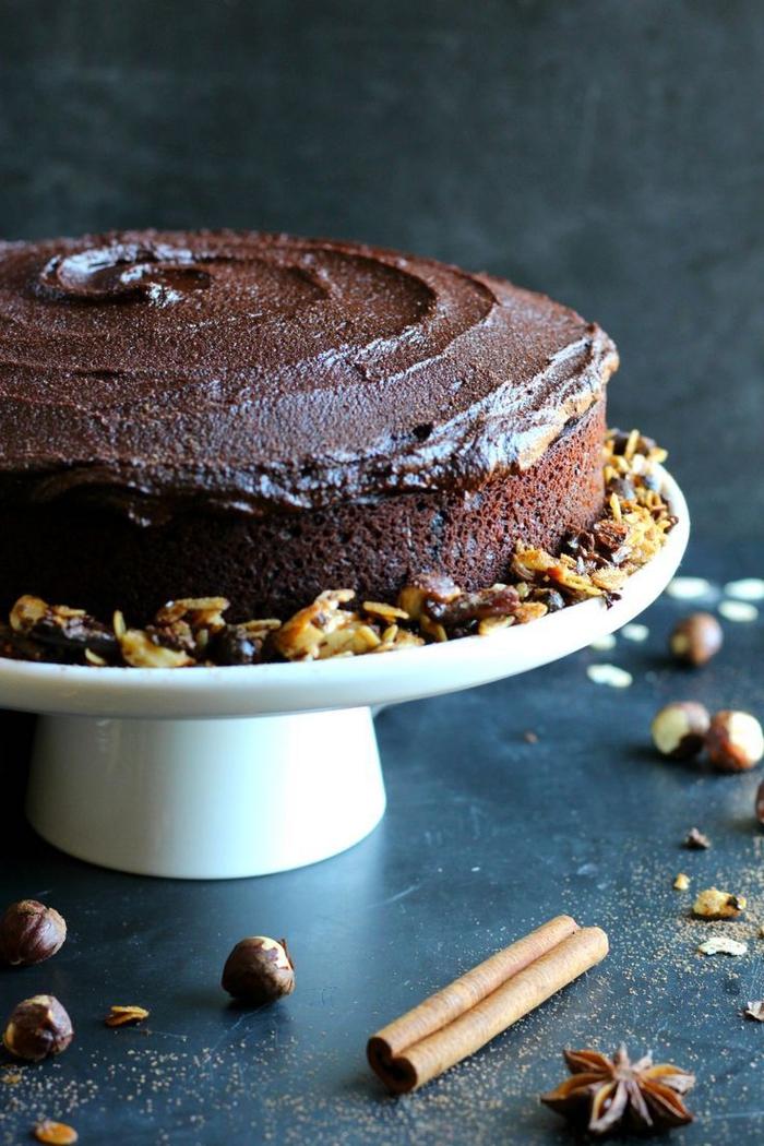 recette gateau au chocolat facile aux noisettes parfumé de café, cake au chocolat et au café espresso