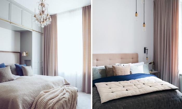 meuble chambre avec garde-robe encastrée blanche à finitions dorées et tête de lit en cuir et bois foncé