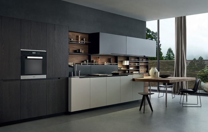 quelle variante de plancher choisir pour une cuisine large aux murs de couleur gris anthracite
