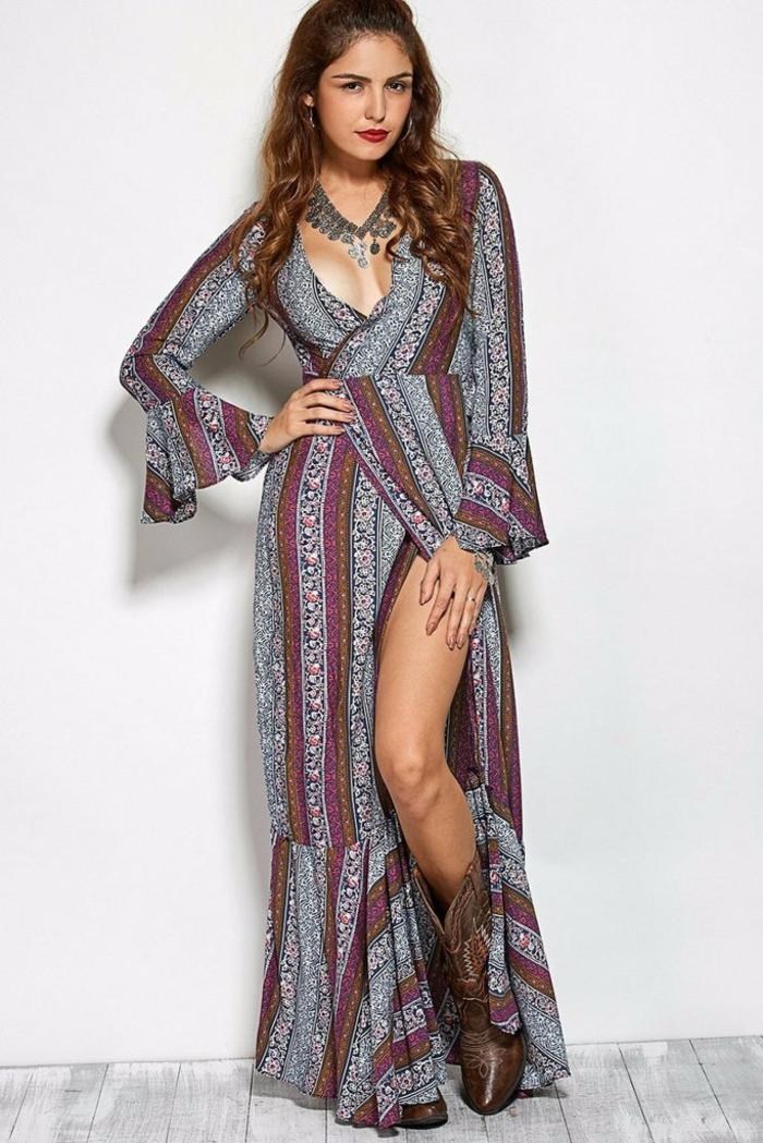 Outfit avec robe longue boheme maxi shabiller bien