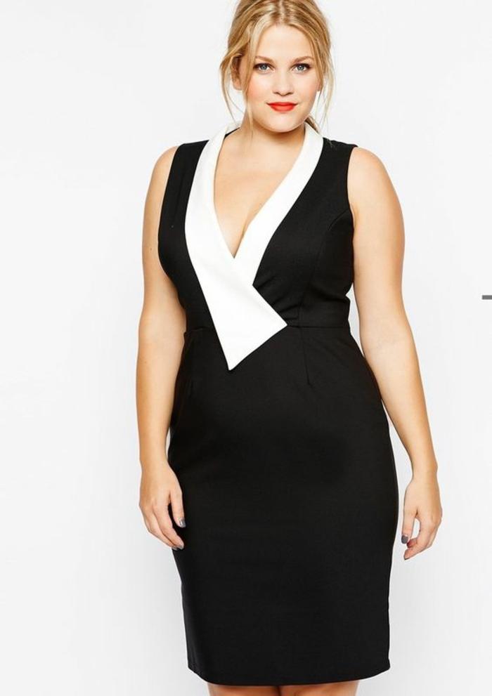 tenue de soirée, robe pour ronde avec du ventre sans manches, décolleté en blanc en forme graphique, longueur de la robe un peu au-dessus des genoux