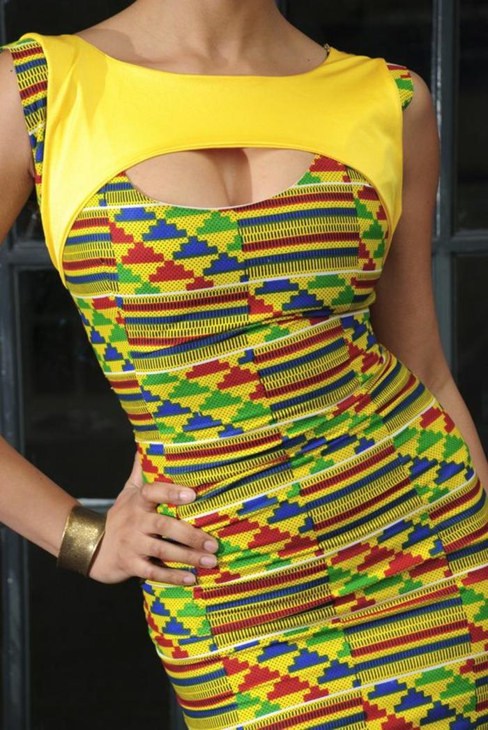 robe moulante en style pop art mode africaine, vetement africain, couleurs vives jaune, rouge et vert, modele pagne