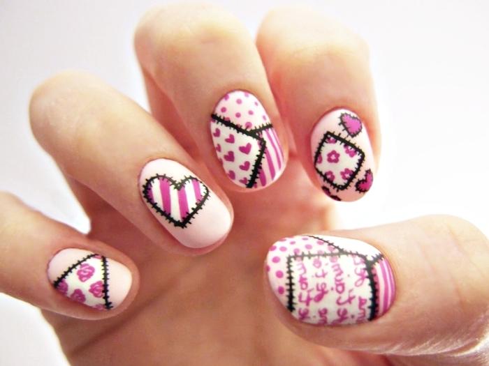 idée manucure mignonne en rose pour la Saint Valentin, inspiration nail art sur base rose pale avec dessin en rose fuchsia