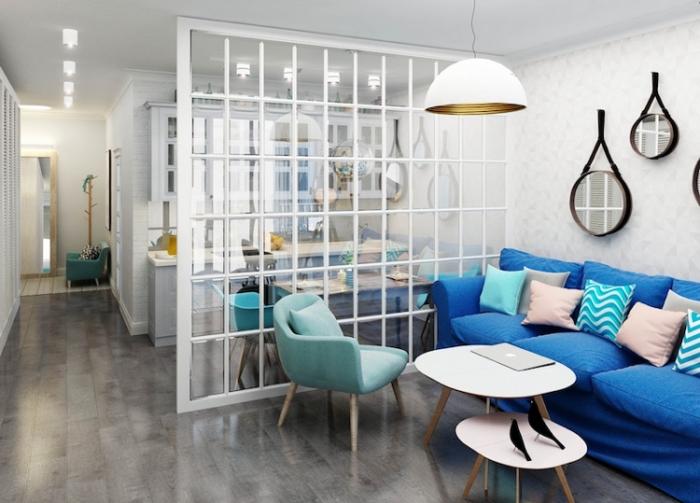 cuisine verriere, cuisine blanche aux murs à design briques blanches avec meubles de style vintage en bois et verre