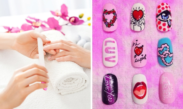 étapes à suivre pour faire une manucure en gel, préparations et soins de beauté pour les mains sains, nail art designs pour la fête de la Saint Valentin