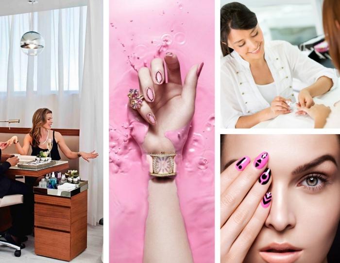 nail art moderne à couleur de base rose avec lignes et motifs géométriques noirs, comment choisir sa manucure en gel selon les bijoux