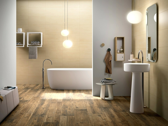 salle de bain en couleurs claires, carrelage en pierre travertin, vasque sur pied