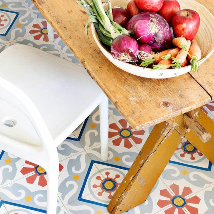 table en bois, design rustique, sol vinyle imitation carreaux de ciment, légumes et fruits