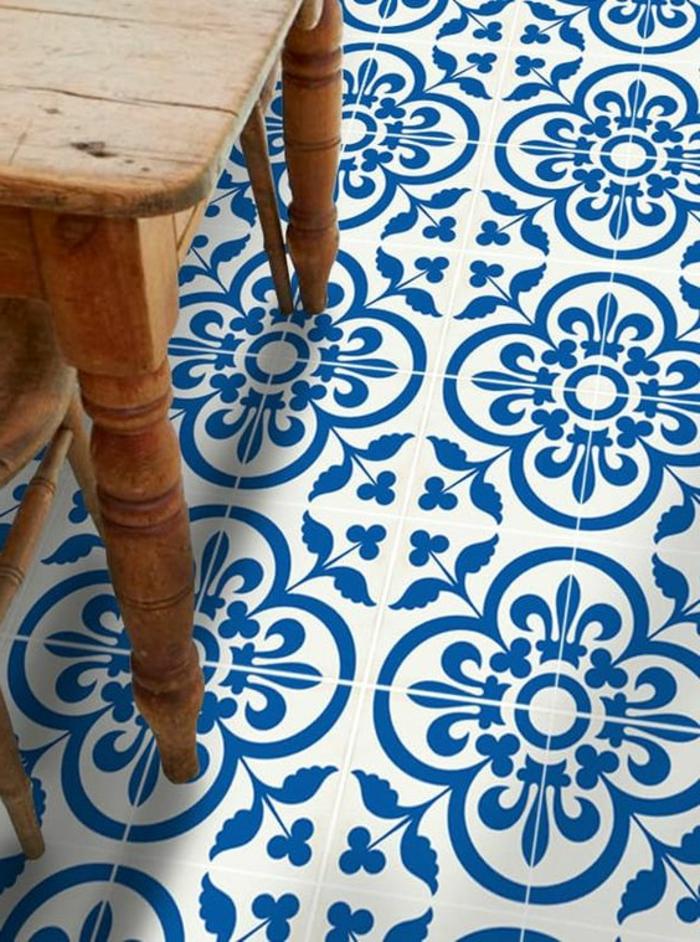 motifs traditionnels sur un film vinyle, table en bois style rustique, sols vinyles,
