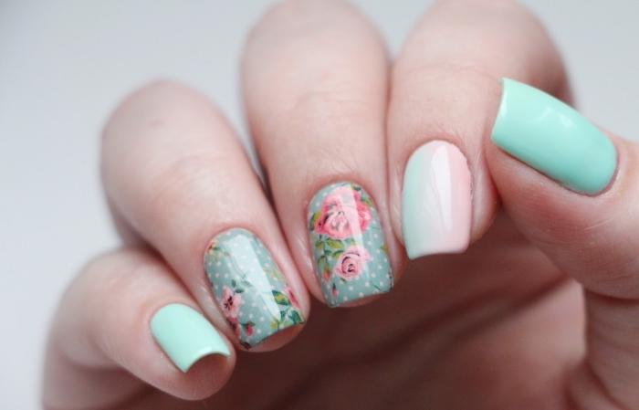 comment faire une manucure en couleurs pastel, ongles à design florale avec vernis gel