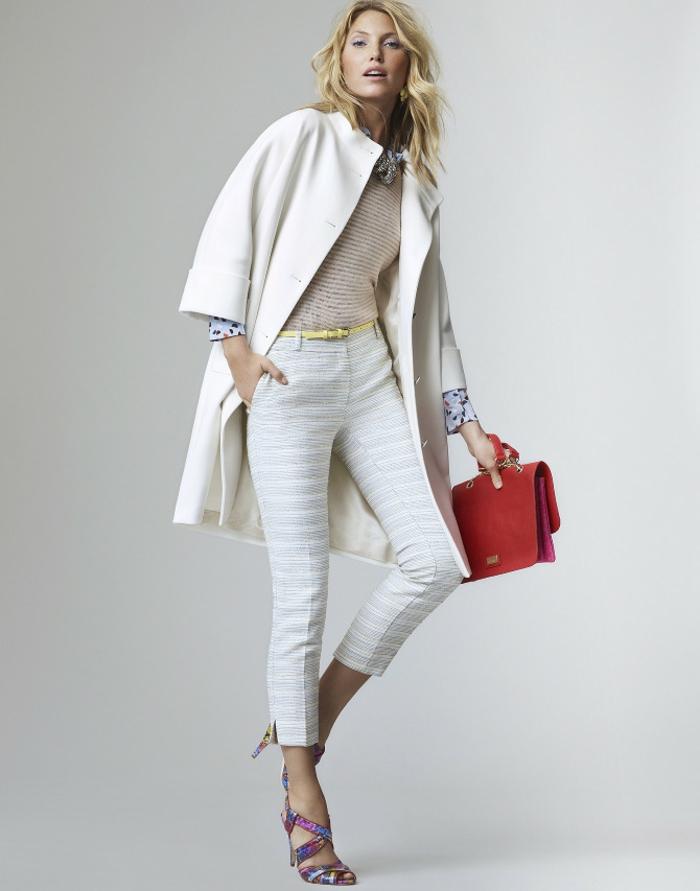 Belle tenue de soirée femme jolie cool idée tenue blanche printemps pantalon