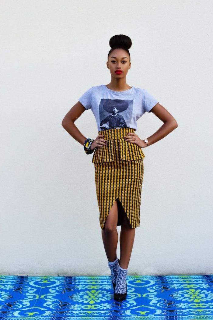 comment porter une blouse sport avec jupe africaine, modèle de jupe longue avec pente de style ethnique africain