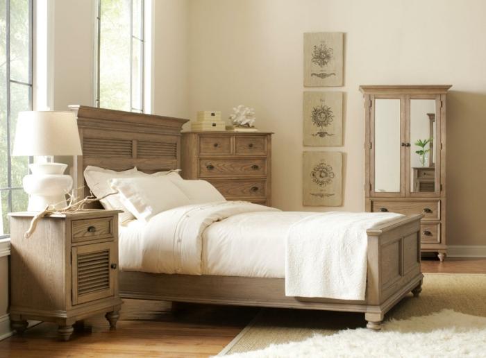 déco de style rétro et rustique avec meubles de bois et parquet bois clair, chambre avec tapis moelleux blanc