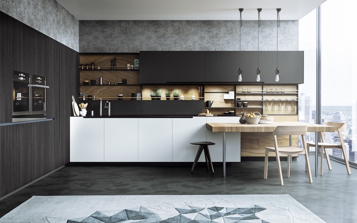 cuisine bois massif, design intérieur au plafond blanc et plancher de nuance kaki vert et gris anthracite