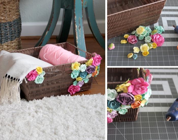 chambre d ado fille avec un panier décoré de fleurs artificielles, projet diy créatif facile avec colle chaude