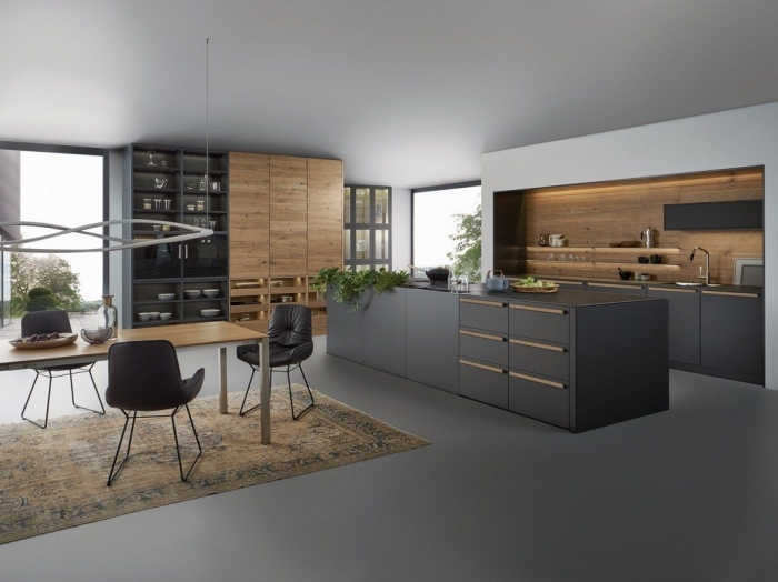1001 exemples sublimes de la cuisine noire et bois. Black Bedroom Furniture Sets. Home Design Ideas