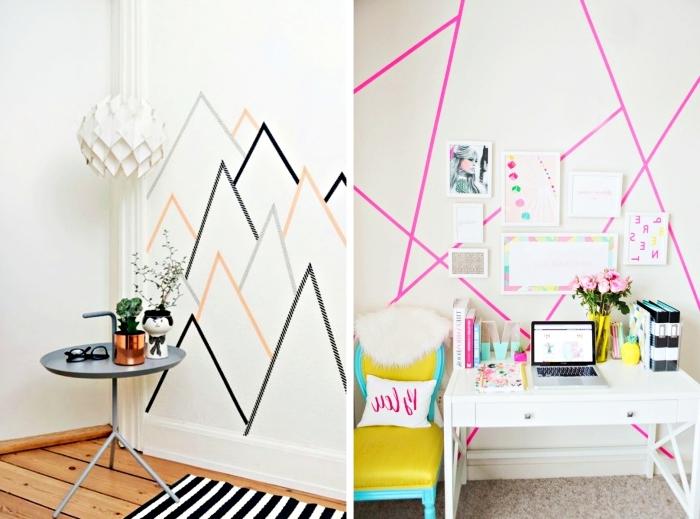 diy déco chambre, murs blancs décorés avec washi tape et cadre photo avec dessins imprimés en blanc et rose