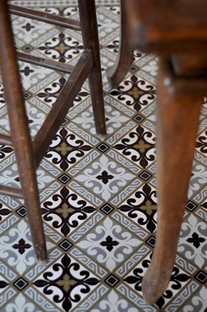 tapis vinyle carreaux de ciment, carrelage motifs anciens, chaises vintage en bois