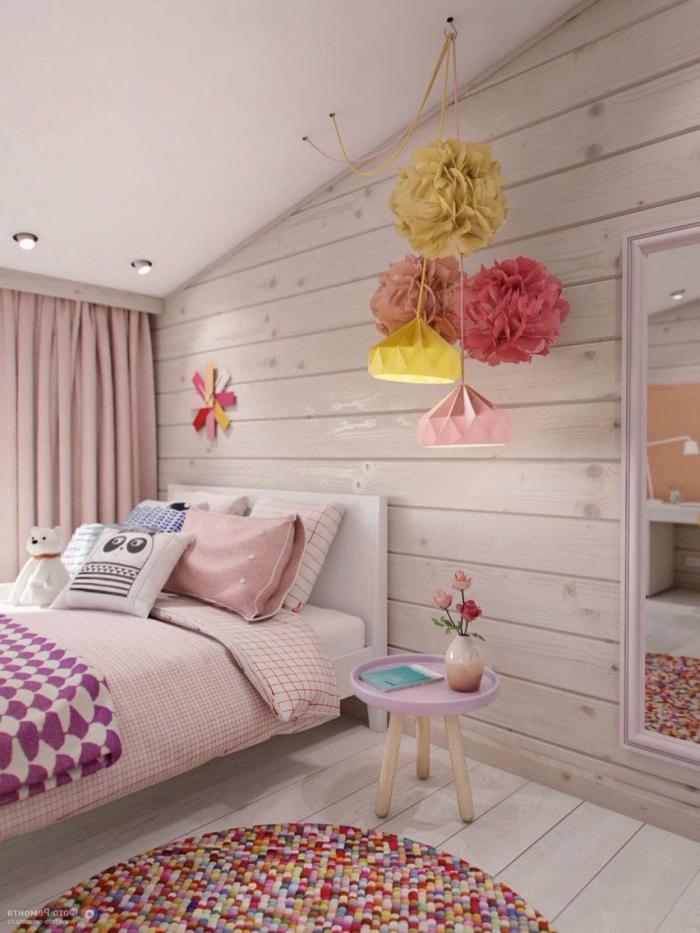 aménagement et deco chambre ado avec créations faciles en papier, chambre fille en rose pastel