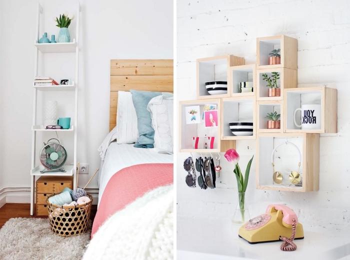 idée déco chambre ado avec meubles de bois clair, tête de lit en palettes et tapis en faux fur beige