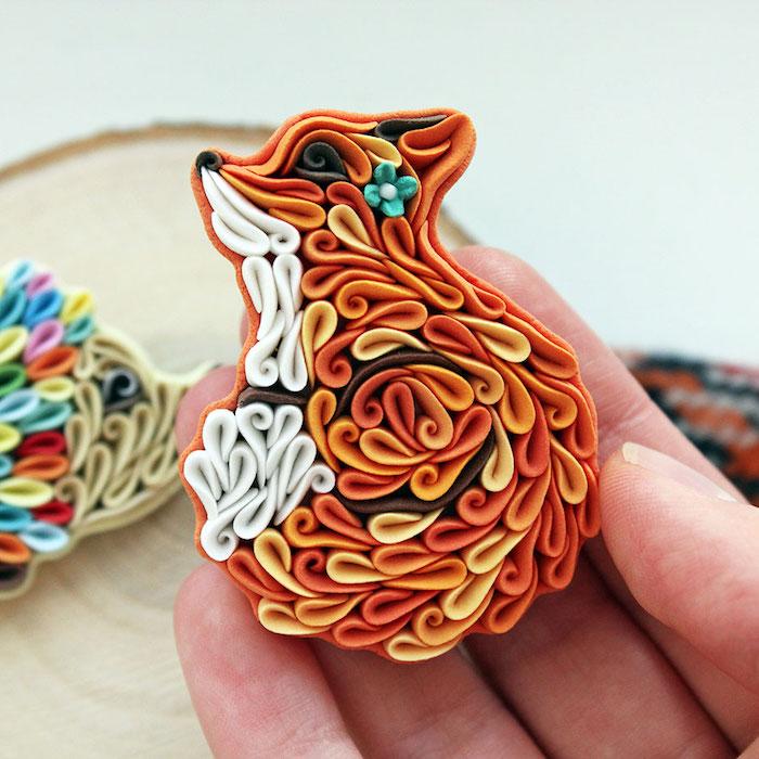 technique du quilling pour réaliser une figurine de renard décorative, comment faire de la pate fimo facile