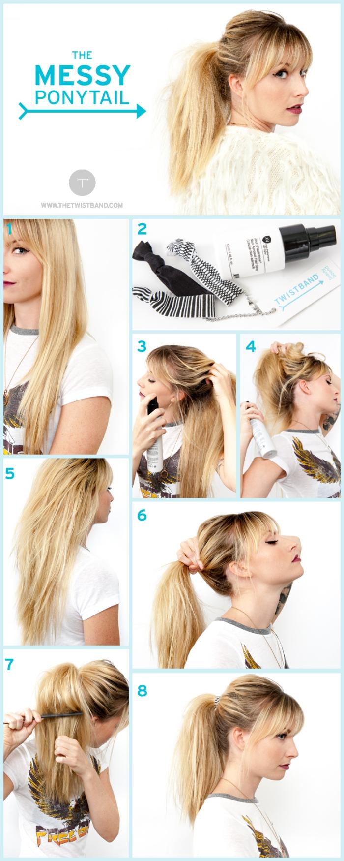 tutoriel facile pour attacher les cheveux en queue de cheval avec frange, maquillage avec lèvres rouges et eye-liner noir