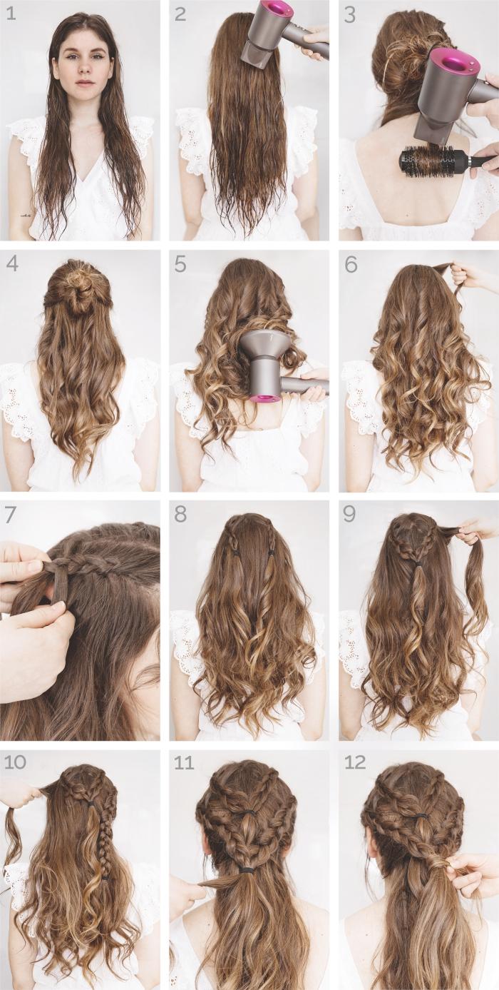 comment faire une coiffure de style Viking sur cheveux longs, tresses vikings avec cheveux bouclés