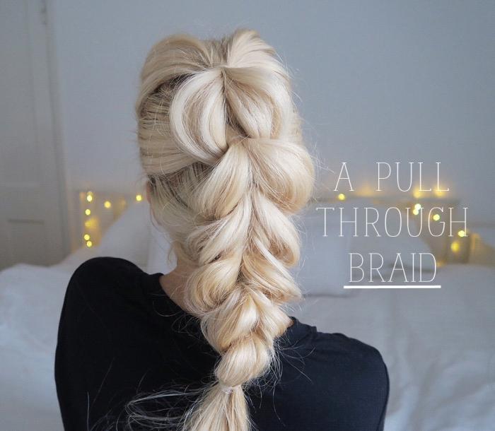 modele coiffure femme, cheveux éclaircis de base châtain foncé attachés en tresse flou et haut