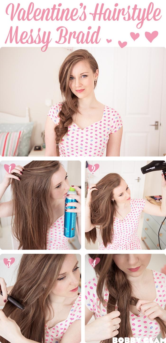 idée pour coiffure de Saint Valentin, jeune fille aux cheveux en tresse de côté avec mèches tombantes devant