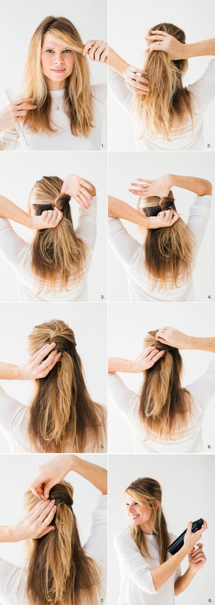coiffure femme, tutoriel pour se faire une coiffure avec frange de côté et cheveux mi-attachés avec volume