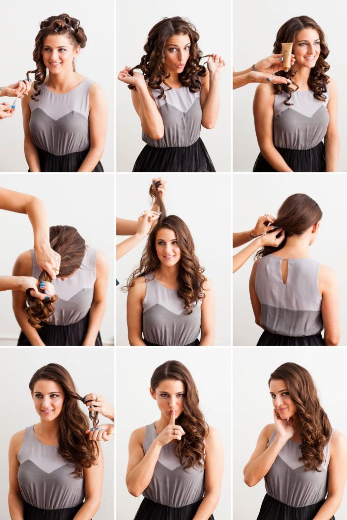 modele de coiffure, étapes à suivre pour boucler les cheveux et les fixer sur le côté en utilisant spray fixant